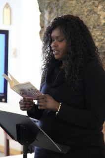 african-american student reading aloud