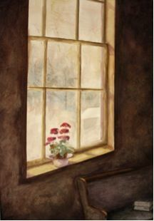 Painting of window and sill by Kay Carter