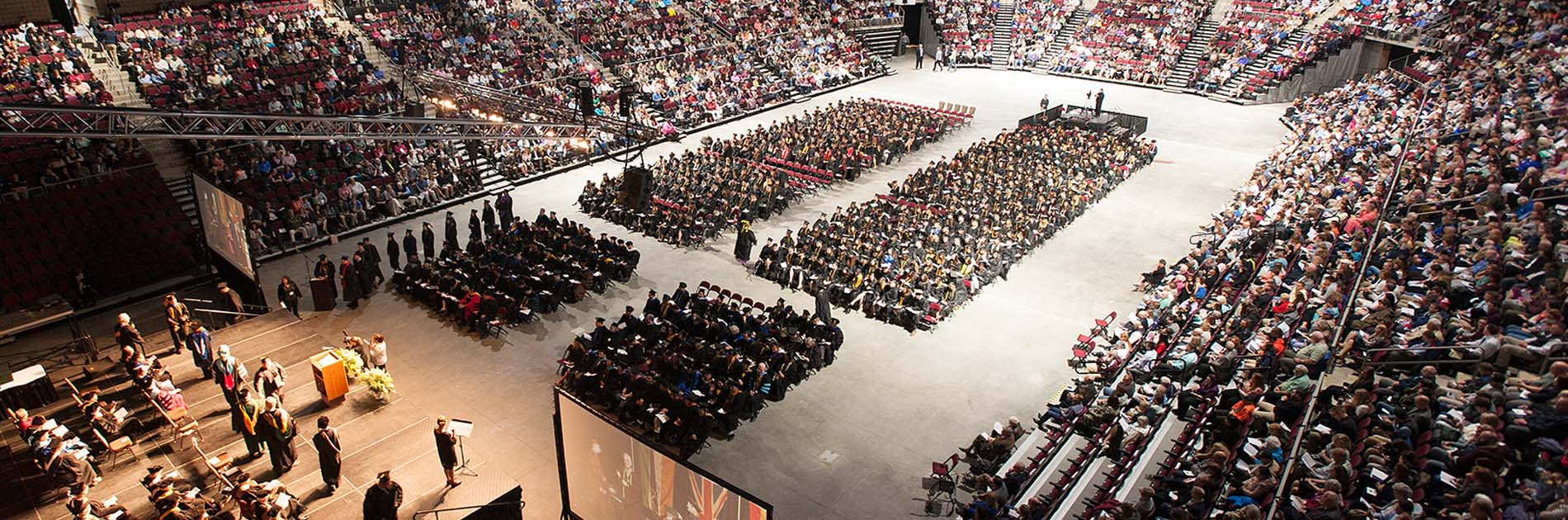 commencement ceremonies at the Cross Insurance Center