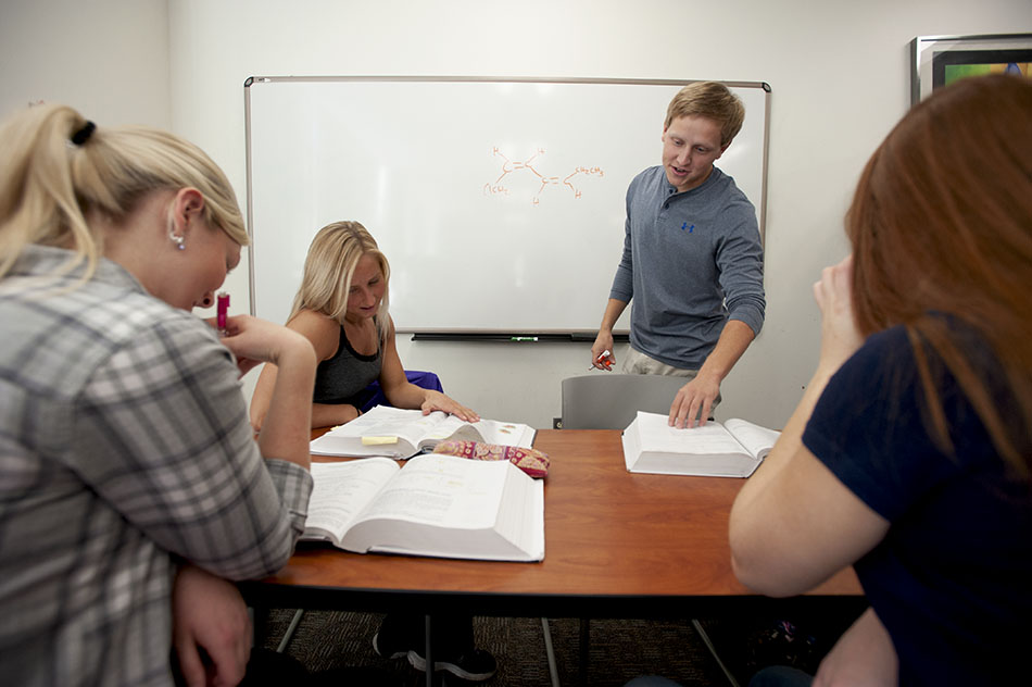 Peer mentors work with students on biology homework
