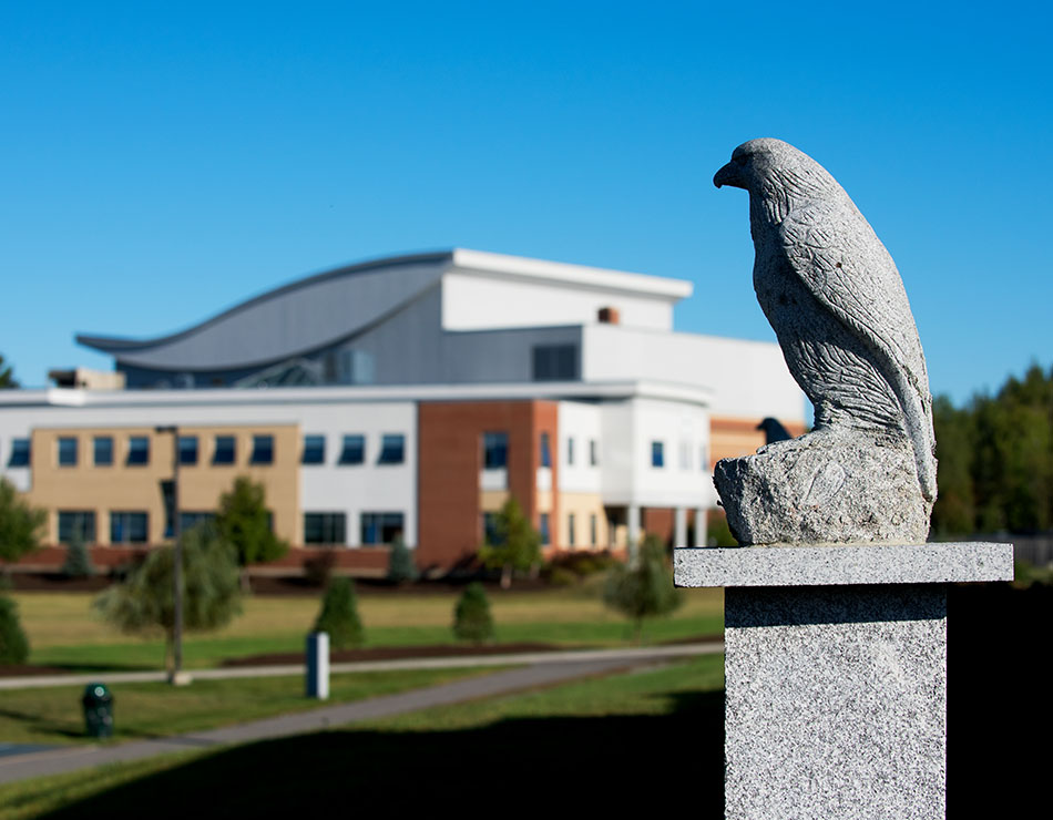 Eagle statue on the campus of Husson university