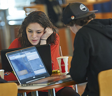 students studying in the campus center of Husson University