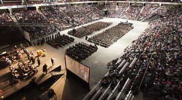 Image of commencement exercises from the Cross insurance Center