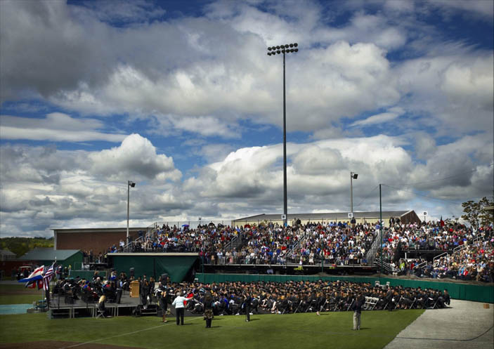 Husson University commencement at the Winkin Sports Complex