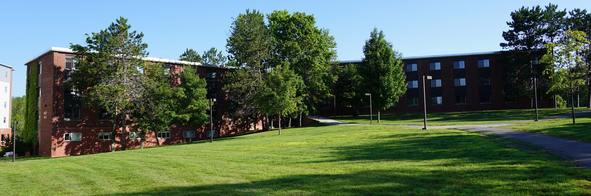 hart hall outside view with trees