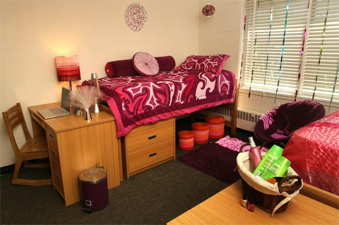 This is an image of a dorm room in Hart Hall